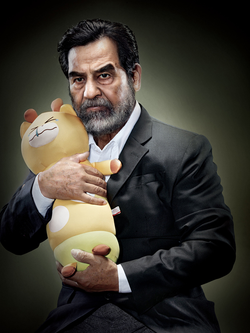 Saddam Hussein with plush kitty IIHIH