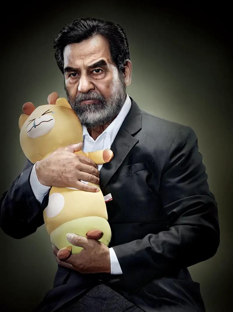 Saddam Hussein with plush kitty IIHIH