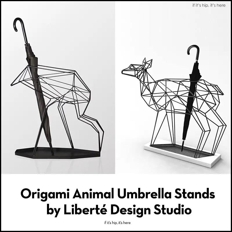 crane and deer umbrella stands
