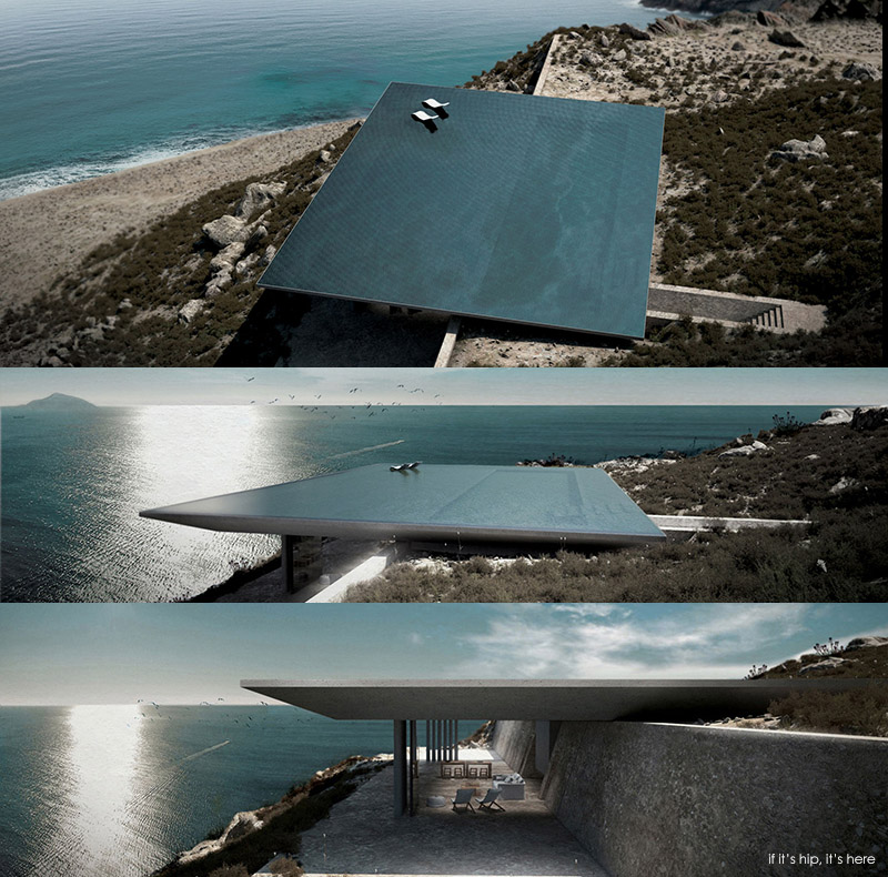 rimless swimming pool serves as roof for mirage house in greece if it 39 s hip it 39 s here. Black Bedroom Furniture Sets. Home Design Ideas