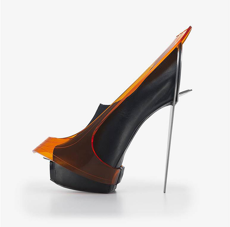 "Chau Har Lee's ""Blade Heel,"" from 2010, made of perspex, stainless steel and leather"