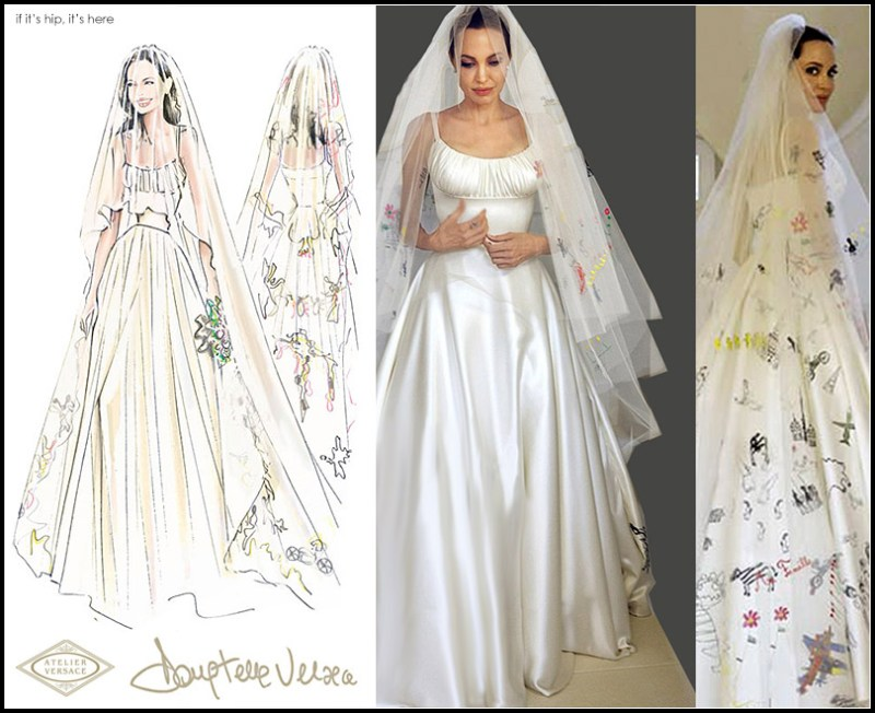 Angelina Jolie-Pitt\'s Wedding Gown and Veil Decorated With Her ...