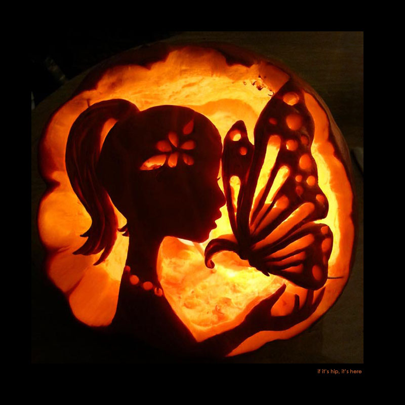 14. Beauty and the Butterfly pumpkin carving