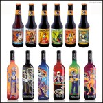 Beer and Wine Bottle Designs With A Muerto Motif for Halloween.