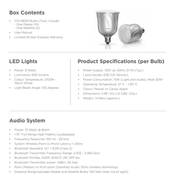 Sengled Pulse Product Specs