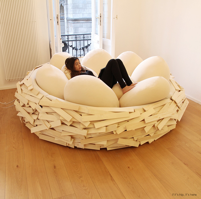 The giant birdsnest bed evolves into a formidable piece of for Egg designs furniture