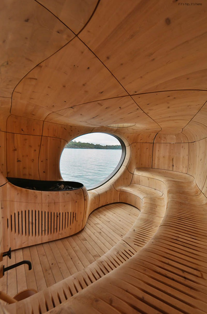 The Grotto Sauna is an Amorphic Prefab on the Edge of a Private Island  if it's hip, it's here