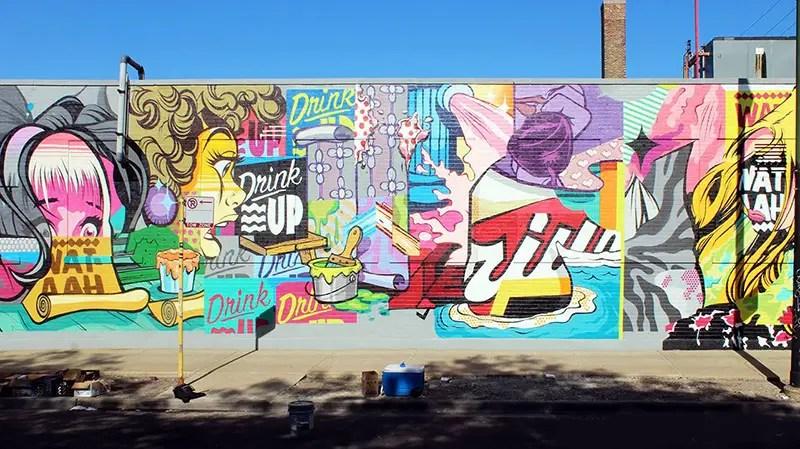 The 37 street artist designed bottles and 5 wall murals for Chicago mural artist