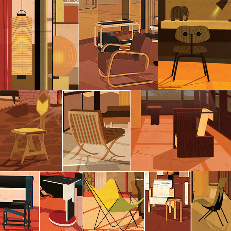 Familiar movie actors in famous modern interiors for Iconic mid century modern furniture