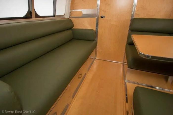 green leather interior