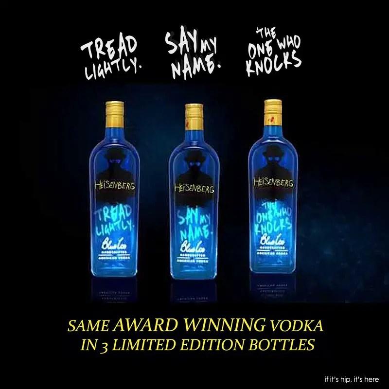 heisenberg vodka 3 bottles with names IIHIH