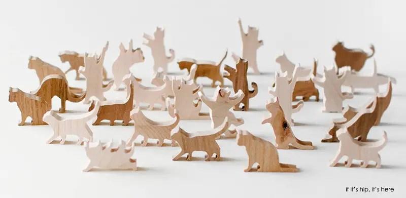 teak and maple wood cat pieces IIHIH