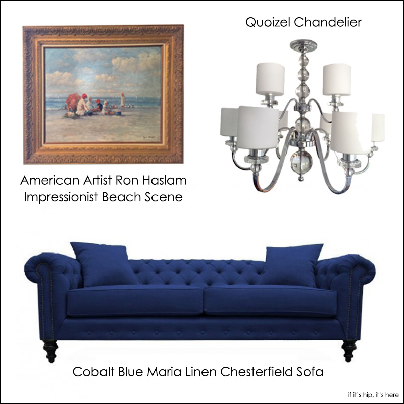 Chesterfield Sofa, Ameican Art Quoizel Chandelier