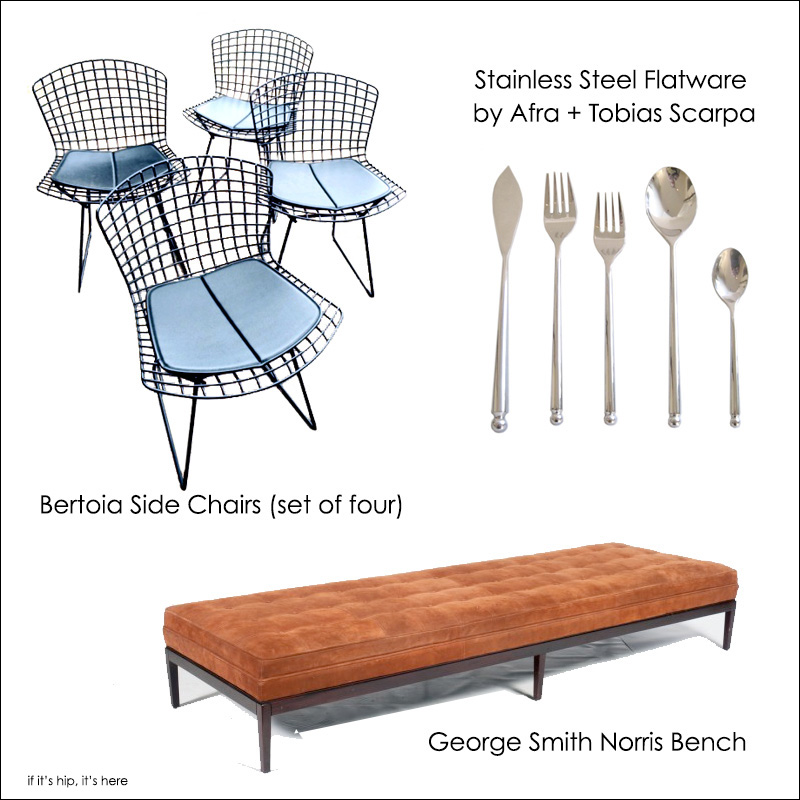 bertoia chairs, bench and flatware