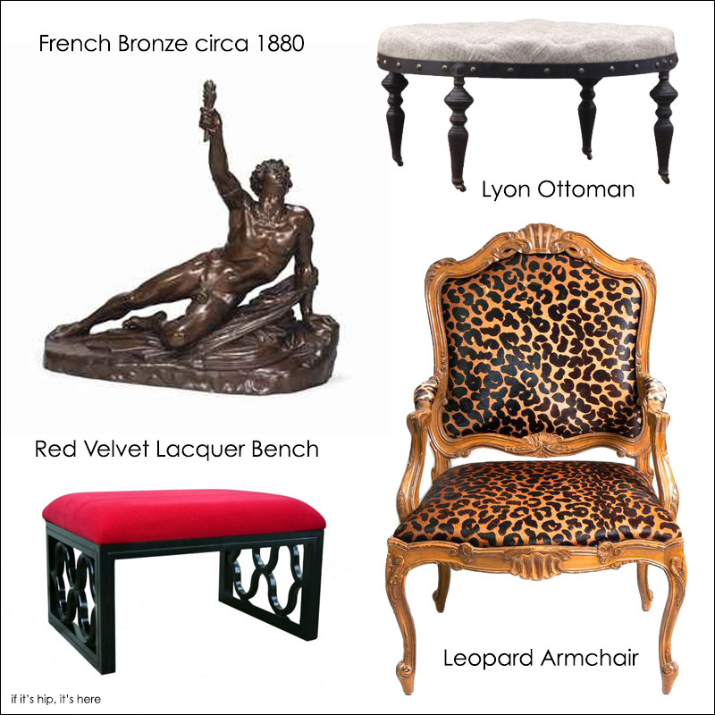 bronze, bench, leopard and ottoman