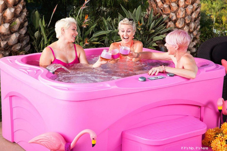 hot pink hot tubs benefit the national breast cancer foundation if it 39 s hip it 39 s here. Black Bedroom Furniture Sets. Home Design Ideas