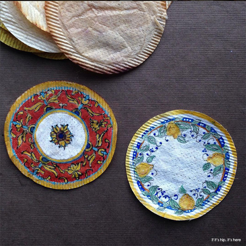 paintings on round teabags