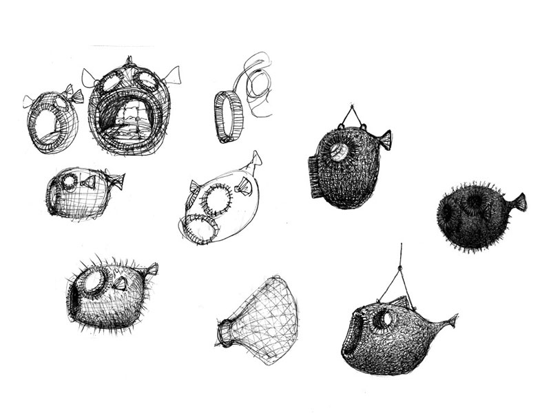 puffer fish chair sketches
