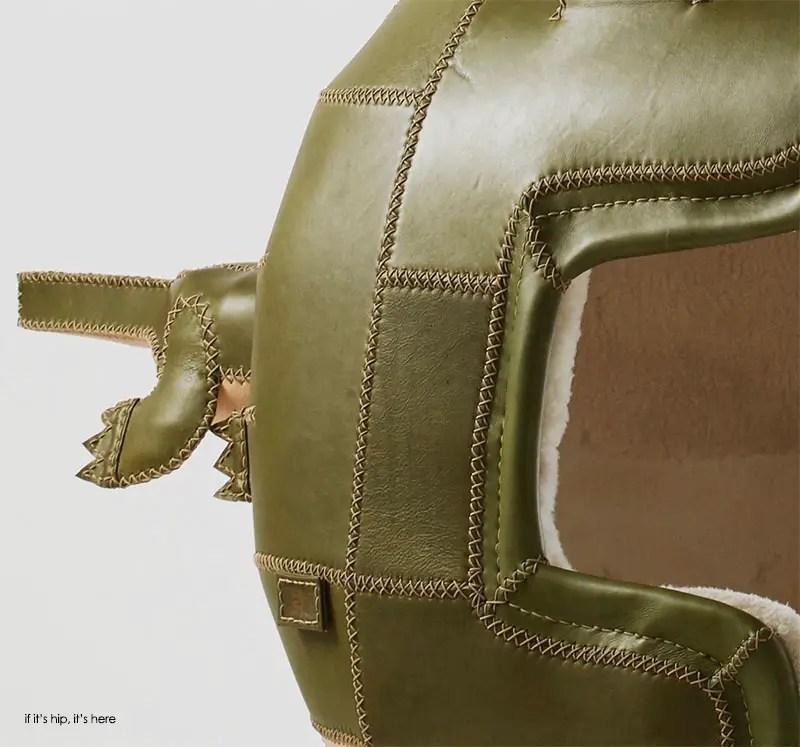 stitching detail on crocodile