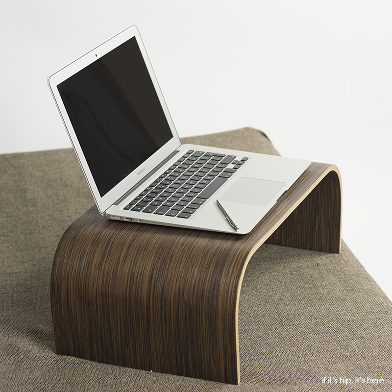 The Noktuku Laser Cut Bent Wood Laptop Tray In Wenge