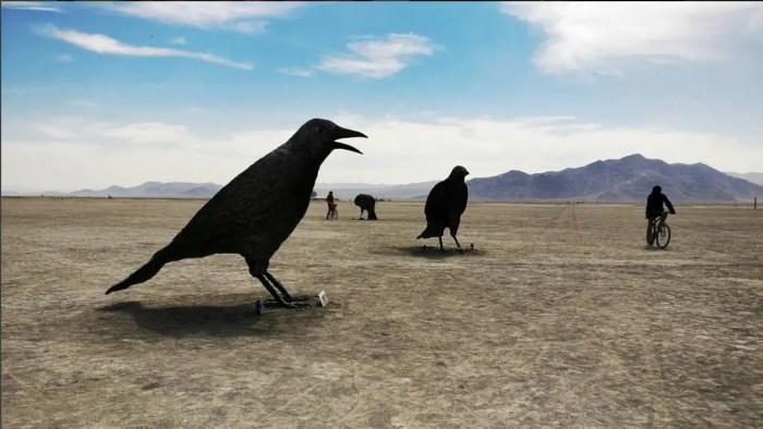 Giant Crow Sculptures Burning Man 2016