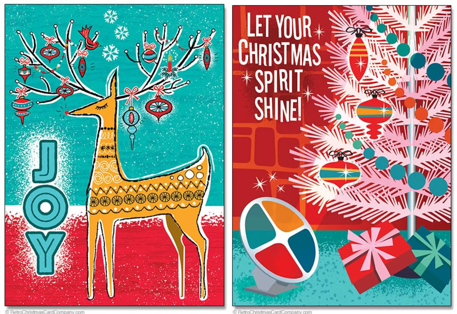 Beautifully Illustrated Mid Century Modern Christmas Cards