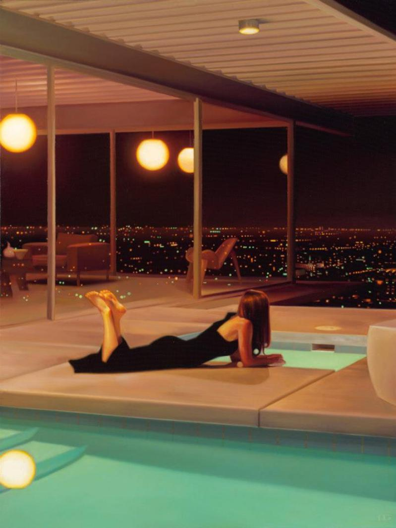 Carrie graber palm springs pool paintings mcm architecture - Stahl swimmingpool ...