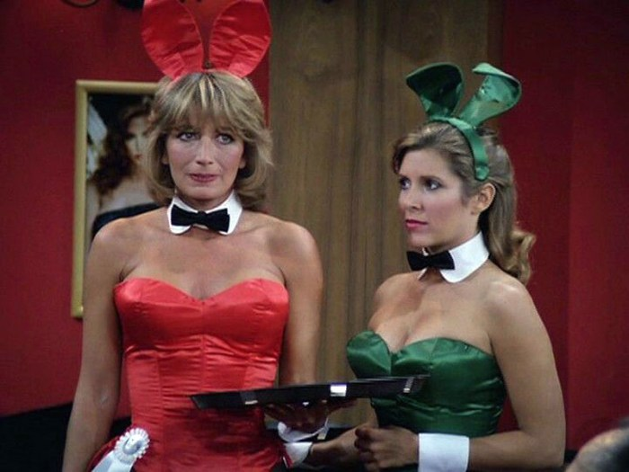 Penny Marshall and Carrie Fisher as bunnies on Laverne and Shirley