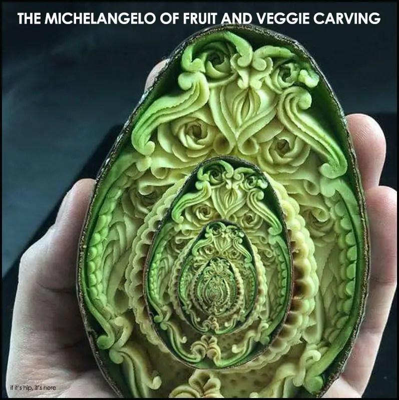 carved fruit and vegetables
