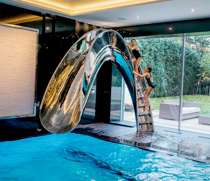 Splinterworks Custom Luxury Pool Slides In Stainless Steel And Resin