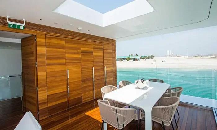 floating seahorse villa dining