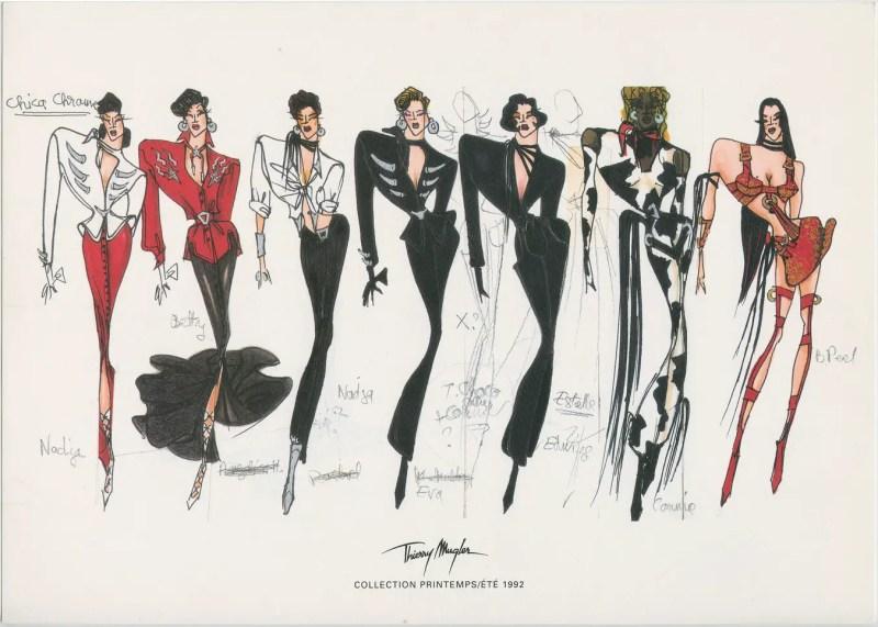 Mugler sketches spring 1992