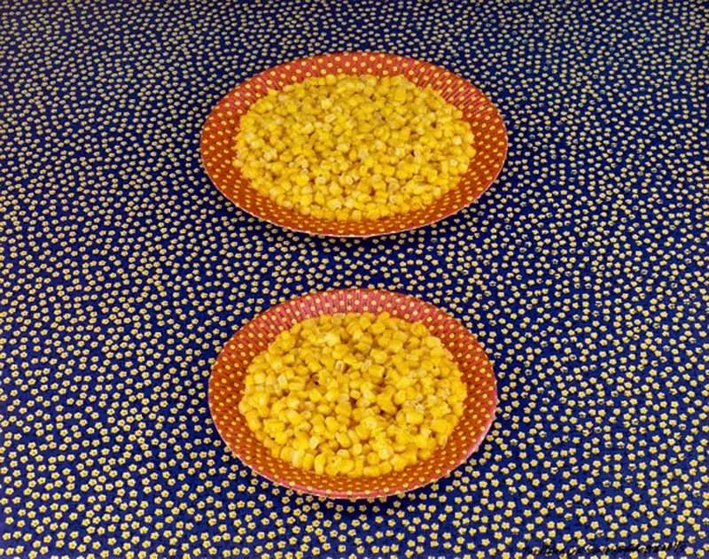 Sandy Skoglund, Two plates of corn, 1978