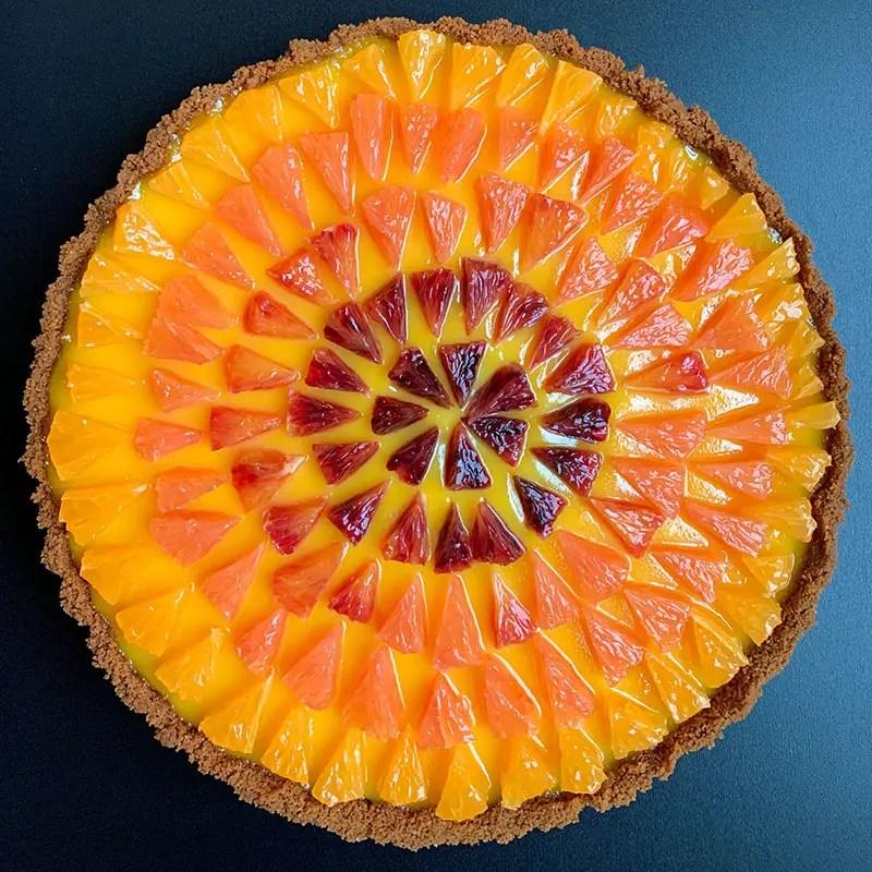 Grapefruit Curd Tart with Ombre Citrus Medley