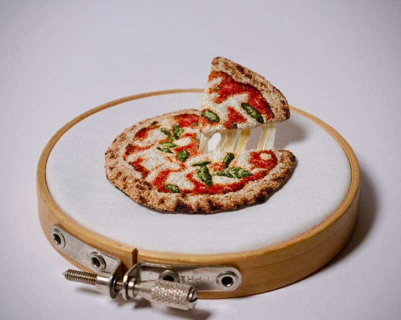 embroidered pizza