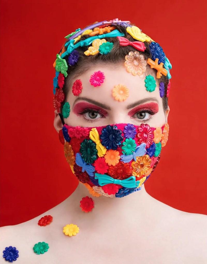 plastic flowers and barrettes mask