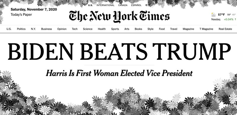 NYT headline november 7yth
