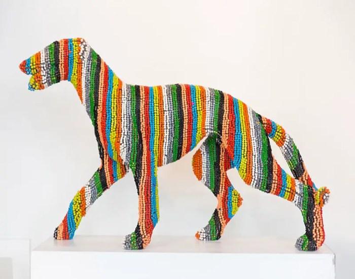herb williams color striped crayon dog