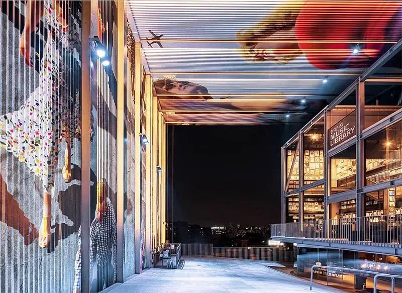 Alex Prager Hyundai Music Card Library Installation at night1