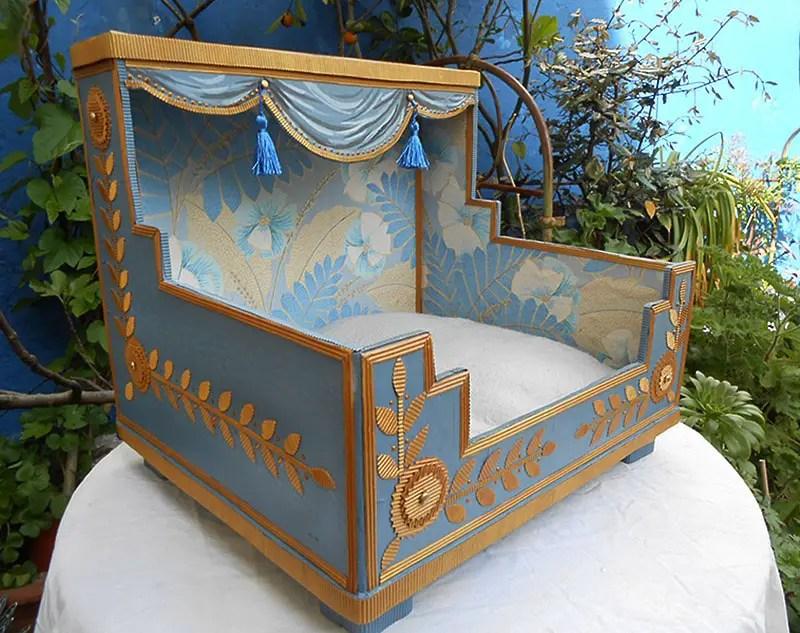 mimi de biarritz cardboard cat house blue gold tassels