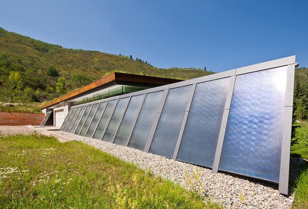 solar panels at house in the mountains