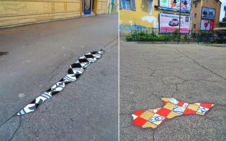 repairing potholes with art