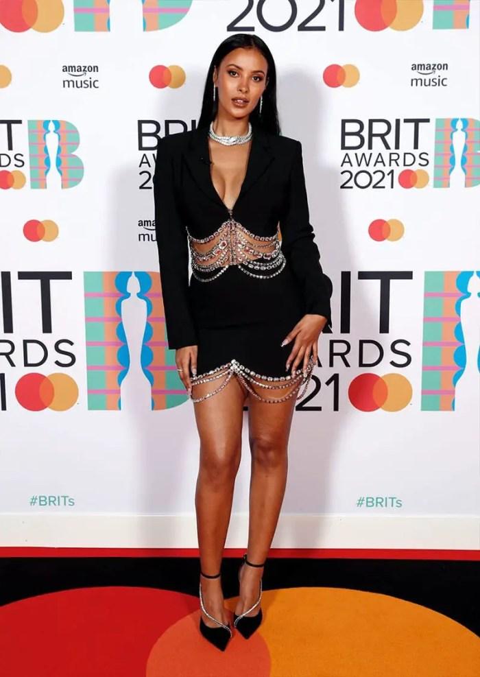 Maya Jama 2021 brit awards red carpet