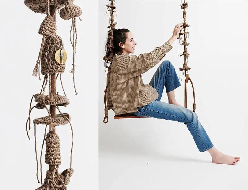handmade crochet outdoor swing