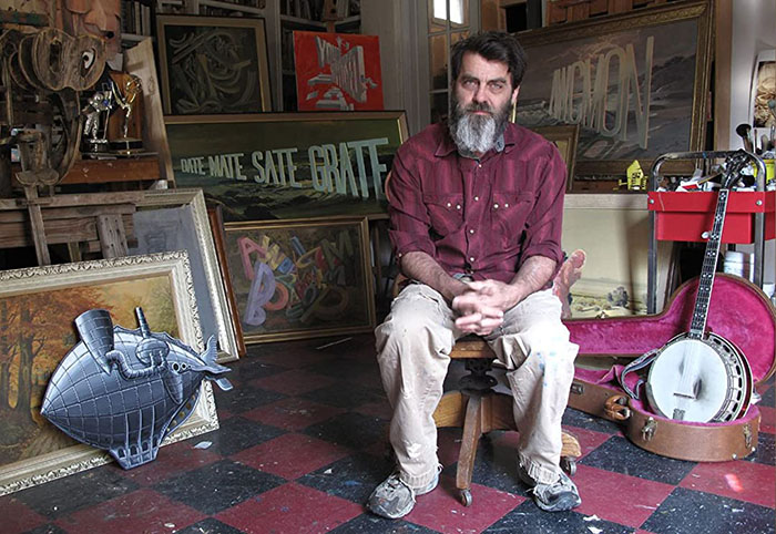 Artist Wayne White in his studio, 2012