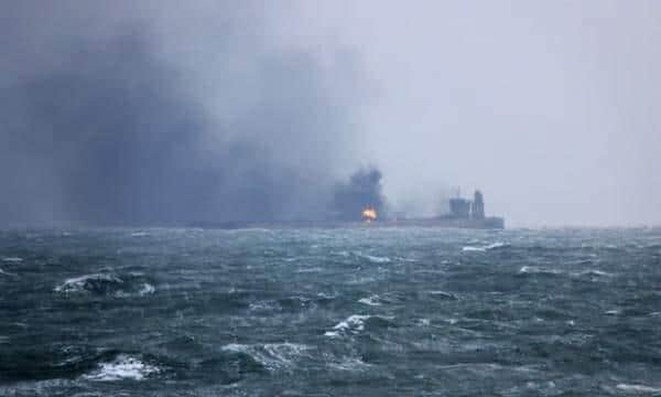 ifmat - Iranian oil tanker on fire near Shanghai Was it headed to North Korea