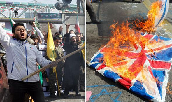 ifmat - British flags set alight in Tehran in chaotic Iran parade