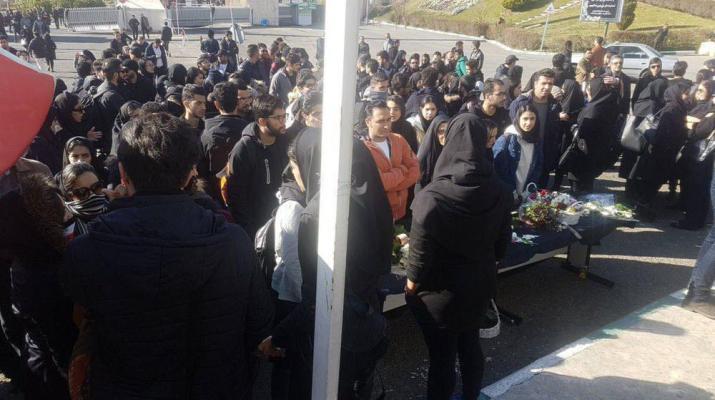 ifmat - Iran students stage protest, chanting Death to the dictator