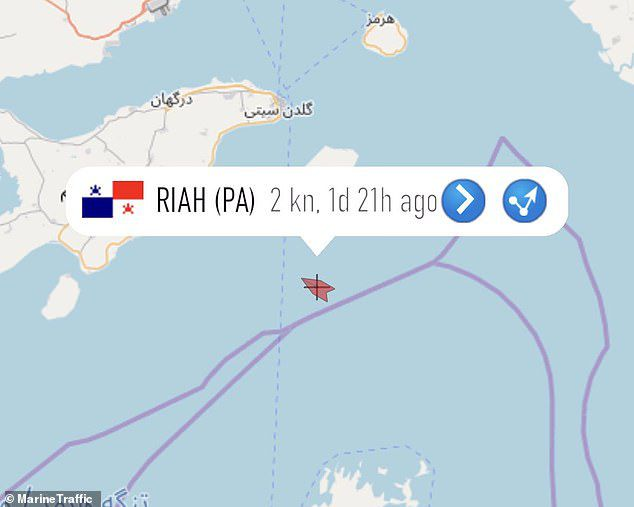 ifmat - UAE oil tanker drifted into Iranian waters two days ago and stopped transmitting its location 1