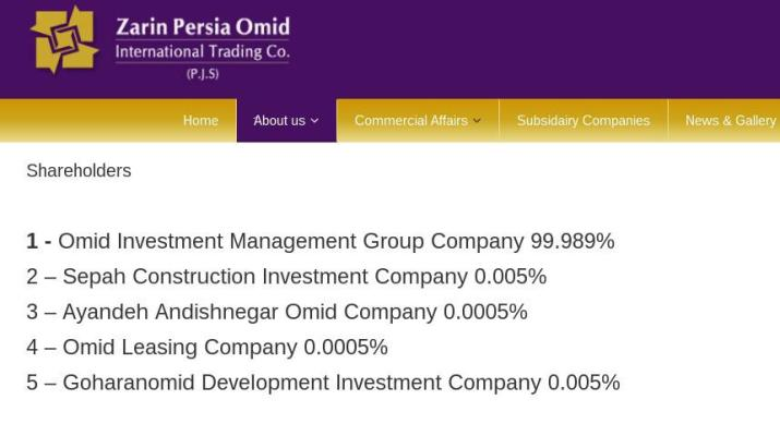 ifmat - Zarin Persia Omid shareholders